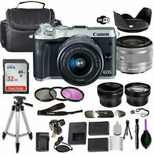 Canon EOS M6 Mirrorless  Camera (Silver) w/ 15-45mm STM + Accessory Bundle