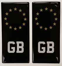 2x GB Black Great Britain Euro Gel 3D Number Plate Side Badges for METAL PLATES