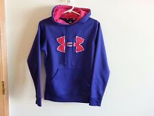Under Armour loose fit purple hoodie with hot pink trim - womens XS