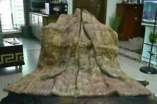 "Natural Muskrat Musquash Mink Real FUR Blanket Queen Throw 85""x75"" rug B3752"