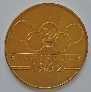 BIRMINGHAM OLYMPIC BID 1992, 70mm GOLD PLATED BRONZE MEDAL AU