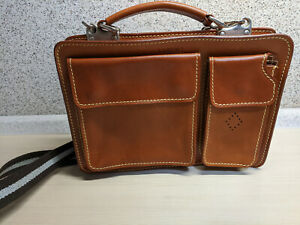 I MEDICI Firenze Italy Briefcase Messenger Laptop Bag Leather Brown Crossbody