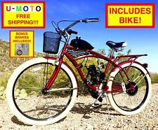 """80CC 2-STROKE BICYCLE MOTOR COMPLETE DIY MOTORIZED BICYCLE KIT WITH 26"""" BIKE"""
