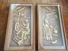 Vintage 3 Dimensional Wall Art metalcraft ,etched,colonial women spinning,fire