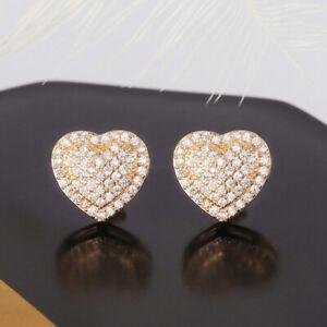 18k Yellow Gold Plated Women Jewelry Cute Heart Shaped Cubic Zircon Stud Earring