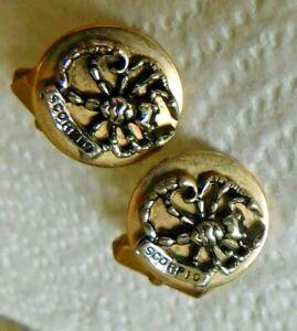Vintage Pair Swank Cufflinks Scorpio Sign Crab Gold Tone Metal