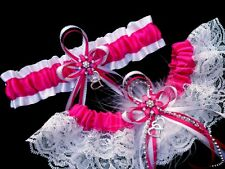 HANDMADE Set of 2 Fuchsia Satin Silver White GARTER + TOSS Prom Wedding Bridal