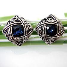 Leaves Ear Stud Earrings Bh2627 Vintage Tibetan Silver Blue Crystal Rhinestone