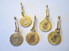 """1 1/2"""" Charm Purse Zipper *FRENCH LION SHIELD CROWN* Pull Repair Replace (5 pc)"""