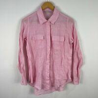 Target Womens Linen Shirt Top 8 Pink Long Sleeve Collared Button Front