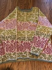 OLEANA FOLK FLORAL PURE WOOL  Nordic Sweater Sz LARGE NORWAY