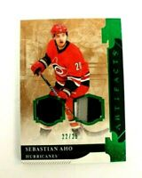 19/20 UD Artifacts Sebastian Aho Emerald Dual Patch Card/25 Carolina Hurricanes