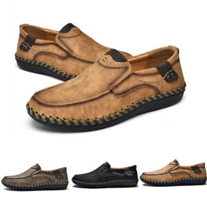 Mens Slip On Loafers Solid Flat Heel Handwork Leather Casual Outdoor Shoes Hot