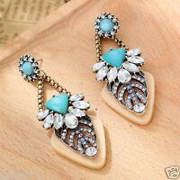 New Woman Statement clear crystal Rhinestone long Ear Studs hoop earrings 1008