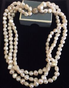 Vintage Jewellery Elegant Real Baroque White Pearl Multi 3 Strand Necklace