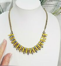 Vintage Yellow Point Pendant Spike and AB-Crystal Choker Necklace