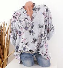 Bluse Damen Tunika 44 46 48 grau Longbluse Fischerhemd Leinen Optik Blume Damen