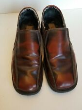 Borelli Leather Square Toe Slip-On Brown Two Tone Loafer Dress Shoes Sz 9.5