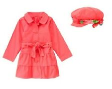 NWT GYMBOREE BURST OF SPRING CORAL TRENCH COAT 7-8  WITH HAT