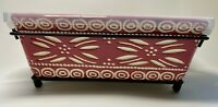 Temptations Carved Old World Cranberry Red Casserole Dish Wire Rack&Cover 1.5qt