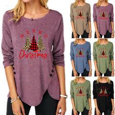 Women Christmas Long Sleeve Tunic T-Shirt Irregular Tree Print Xmas Blouse Tops