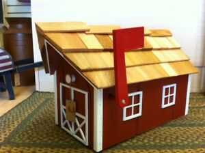 Amish Crafted Red (White Trim) Barn Style Mailbox - Lancaster County PA
