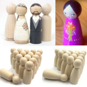 5/10/30XFemale Male Wooden Peg Dolls Figures Wedding Decor Cake Toppers DIY Toys