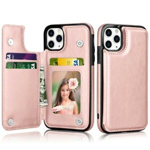 For iPhone 12 11 Pro Max Wallet Case Leather Magnetic Cover with Card Holder