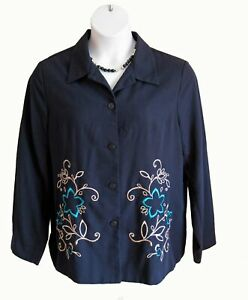 Embroidered Shirt Jacket Blouse Top Size 18 XXL Sag Harbor Navy Floral Flaw Sale