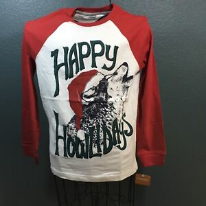 Gymboree, Kids (boys) Happy Holidays Baseball Tee, NWT, L, White/Red