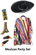 Mexican Poncho Black Sombrero Fancy Dress Party Set Bullet Belt Gun Moustache