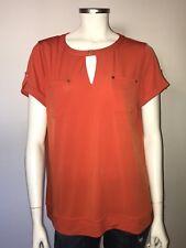 Anne Klein Spicy Orange SS Shirt Keyhole Blouse Top Sz Large $69 NWT #L21