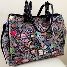 BUY IT NOW! SUPER RARE!  NWT Dooney & Bourke Whimsy Black Multi-color Large Tote