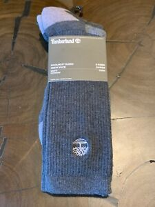 New Timberland Men's 2-Pair Pack Coolmax Blend Crew Socks Size One Size (9-12)