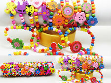 wholesale 50pcs wood wooden kids children's party birthday wristbands bracelets