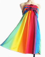 ELASTICATED RAINBOW black, grey STRAPLESS SUMMER BEACH DRESS UK SIZE 10 - 14 new