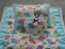 Handmade Dolls Bedding Pram Patchwork Panel Blanket Quilt,Pillow&Heart Charm Set