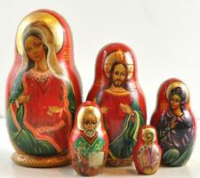 """5 Piece 1994 Russian Nesting Doll 7"""" Hand Painted W/ Lifted Embellishments"""