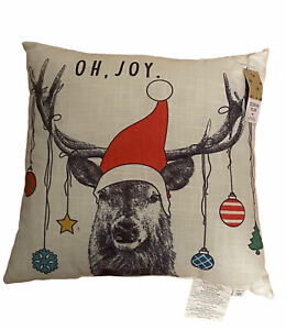 """Holiday Lane """"Oh Joy"""" Ornamental Deer Off White Decorative Pillow 18"""" x 18"""" Nwt"""