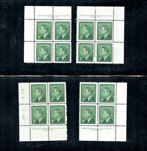 LOT 90099 MINT NH (UL LH) 284 P1 MATCHING SET PLATE BLOCKS KING GEORGE V1 CANADA