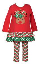 Bonnie Jean Little Girls Christmas Santa Reindeer Bow Red Legging Set 2T-6X