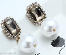 1 Pair Elegant Brown Crystal Rhinestone  Ear Drop Dangle Stud long Earrings 215