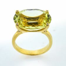 13.30ctw Citrine & Diamond 18k Yellow Gold Estate Large Gemstone Ring Sz 8.5