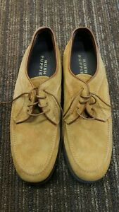 VTG HUSH PUPPIES OXFORD MEN'S SIZE 9 M CAMEL SUEDE LACE UP SHOES NEW Made in USA