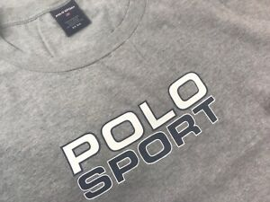 Vintage POLO SPORT ralph lauren spellout t-shirt 6XL Big 6XB Long Sleeve Gray