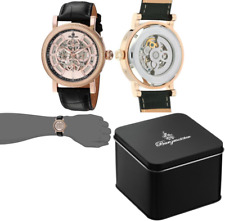 Burgmeister Men's Automatic Watch with Rose Gold Dial Analogue Display and Black