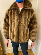 Mens Golden Brown Beaver Genuine Real Fur Zippered Bomber Jacket Coat Size Large