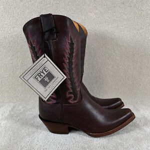 NEW Frye Women's 10 B Western Boots Brown Embroidered Pink Stitching Snip Toe