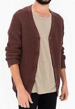 American Apparel Recycle Cotton Fisherman Cardigan Jacket Cable Knit Brown M