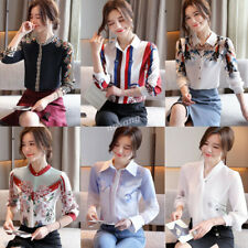 Elegant Women Button Down Shirt Business Work Office Autumn Spring Blouse Top